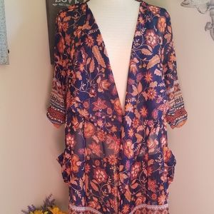 Band Of Gypsies sheer cardigan dark blue orange